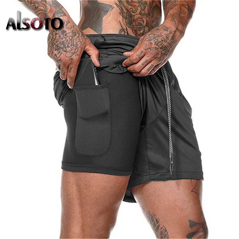 Men 2 in 1 Running   Shorts   Security Pockets Leisure   Shorts   Quick Drying Sport   Shorts   Built-in Pockets Hips Gyms Zipper Pockets