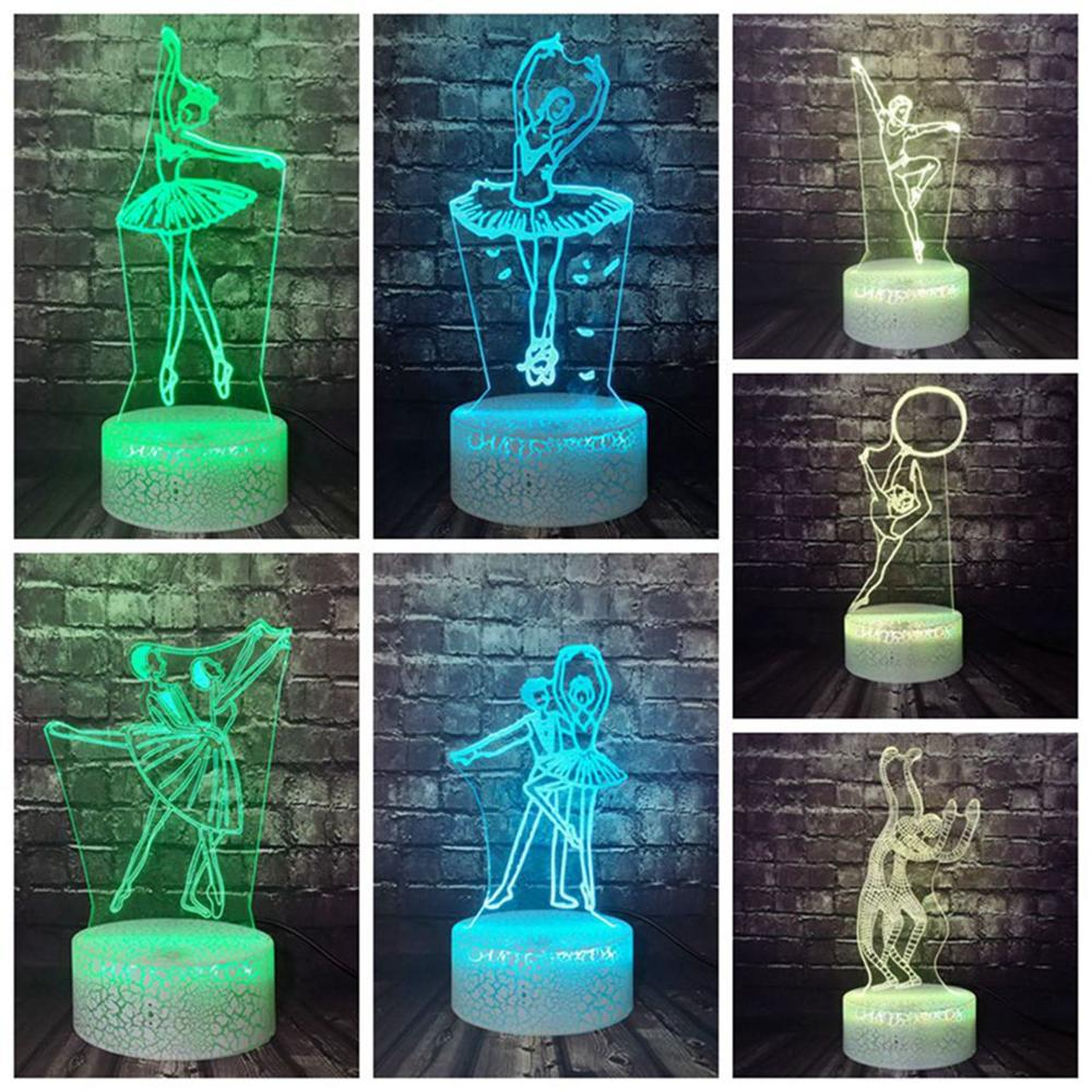 Ballet Dancer Series Gymnastics Lamp LED Cartoon Light 3D Optical 7 Color Change Room Mood Lava Holiday Birthday Gift