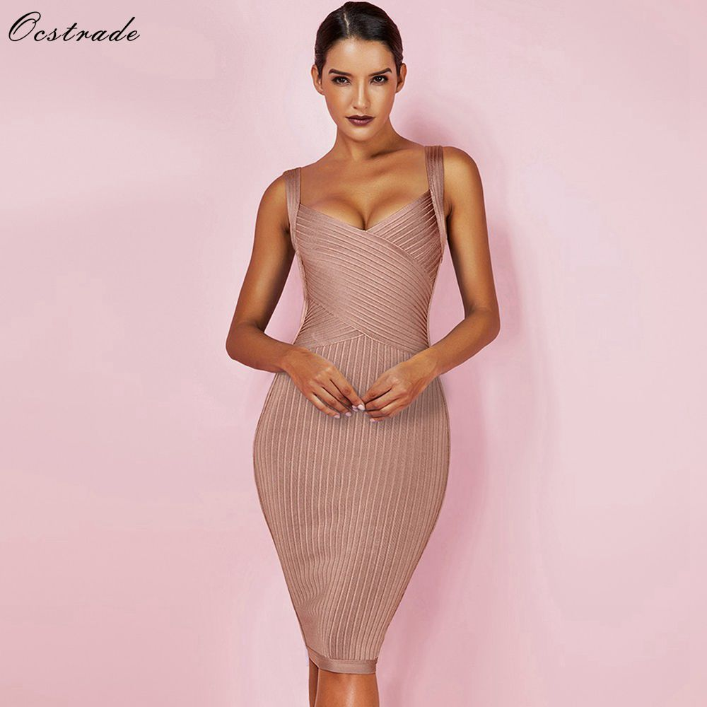 Ocstrade Ladies Bandage Dress 2019 New Arrivals Tan Waist Cinching Rayon Bandage Dress Women's Sexy Party Bodycon Dress