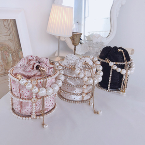 Image 2 - Sac à main de luxe pour femmes, seau en métal avec diamants, poignée de perles, sac de fête avec chaîne bandoulière