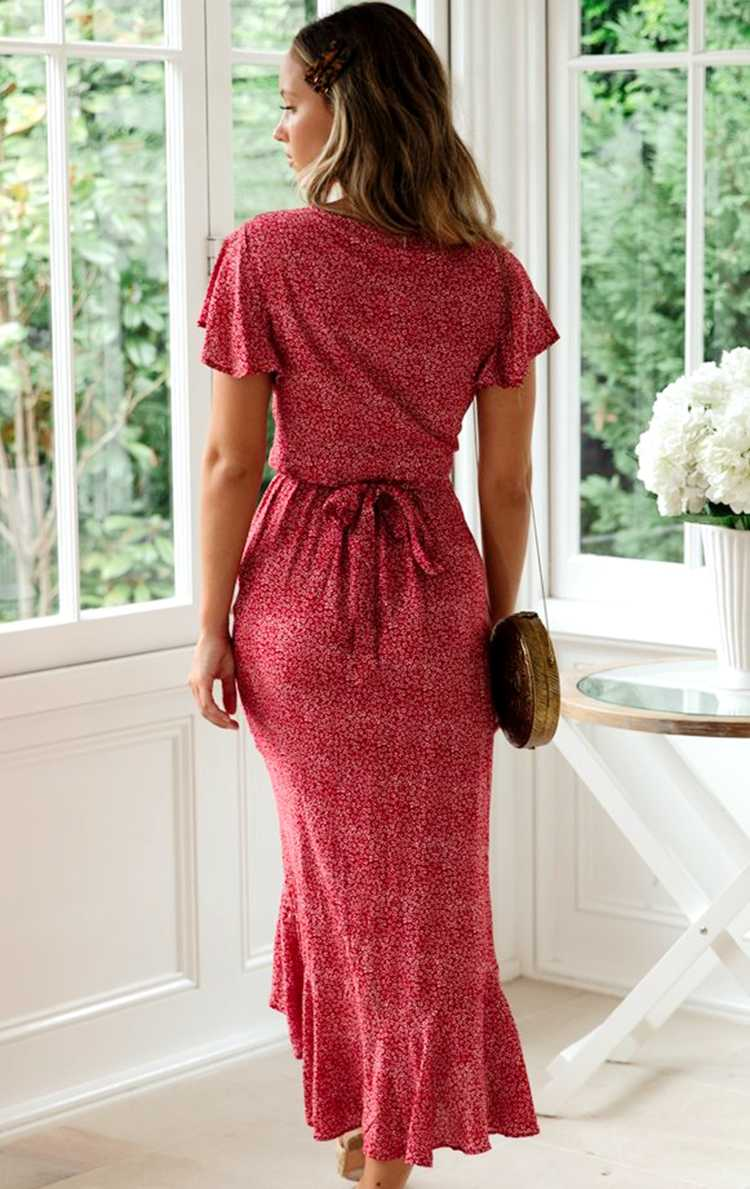 2020 Femme Floral Print Midi Dress V-neck Short Sleeve Ruffles Dress Dot Printing Summer Wrap Dress Irregular Red Holiday Dress