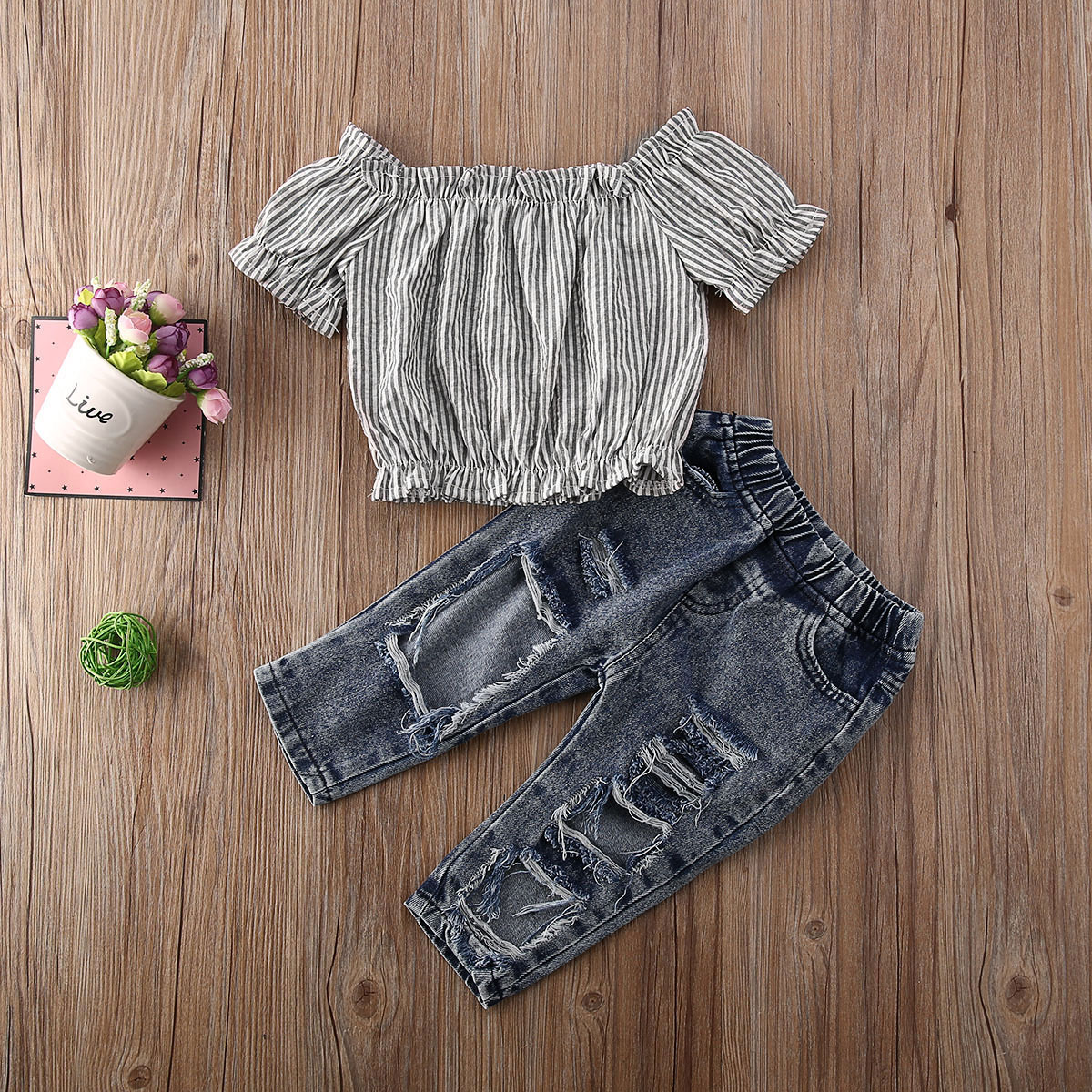 Emmababy Newest Fashion Toddler Baby Girl Clothes Off Shoulder Striped Crop Tops Ripped Jeans Pants 2Pcs Outfits Clothes