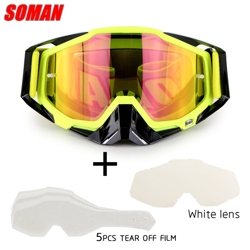 Soman Motorcycle Riding Off-road Goggles Eye-protection Goggles Outdoor Glasses Case Assembly Transparent Sheet With Tearable Fi