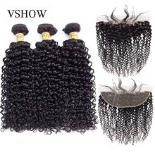 VSHOW Mongolian Kinky Curly Hair Bundles With Frontal 100% Remy Human Hair Weave Bundles With Closure Frontal Hair Extensions стоимость