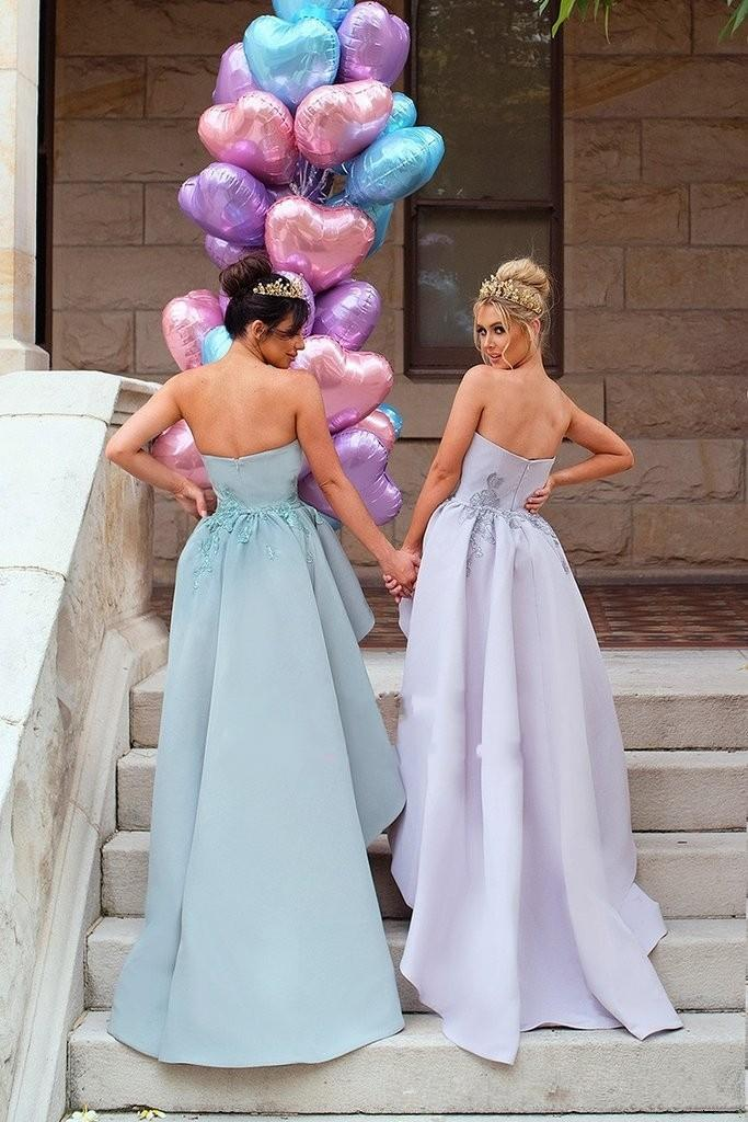 lace Applique Detachable Train Strapless Zipper Back Maid of Honor party prom gown 2018 Modest Long Mermaid Bridesmaid Dresses