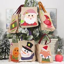 Portable Cartoon linen Kid Handbag Christmas Candy Gift Holder Treat Bag Xmas