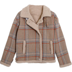2020Women New Plaid lamb wool jacket female Korean version of the short loose Plaid Cotton-padded jacket FC369