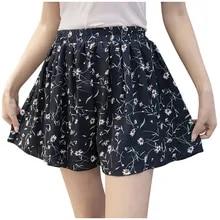 Chiffon-Skirts Elastic High-Waist Large-Size Fashion Women Casual Summer Ladies Print