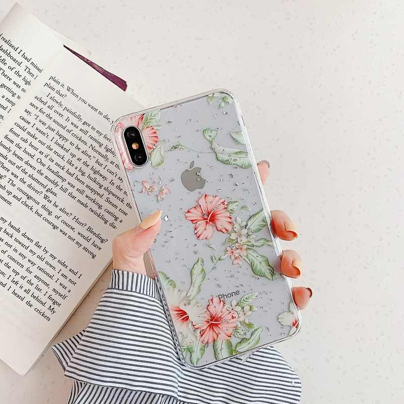 Rose Floral Silicon Case For iPhone XR XS Max X Glitter Gold Foil Lace Flower Phone Cases for iPhone 7 8 6 6s Plus Clear Cover
