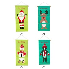 Over Door Wall Organizer Christmas Santa Claus Reindeer Print Bag Hanging Storage x