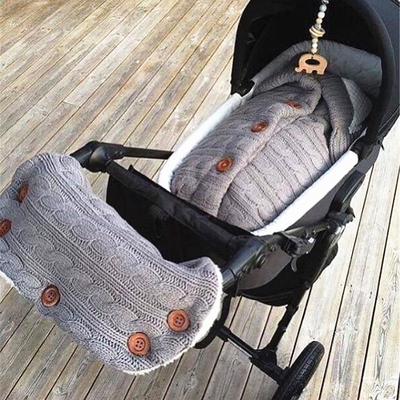 2PC Baby Sleeping Bag With Handlebar Warm Newborn Cocoon Extract Envelope For Newborns Baby Pram Swaddle Winter Knitted Stroller Kids Spiworek