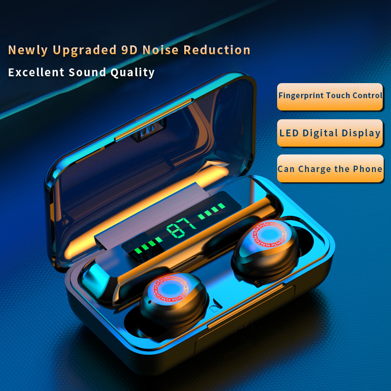 Brand new F9 TWS Wireless Headphones Bluetooth5.0 earphone HiFi IPX7 Waterproof earbuds Touch Control Headset for sport image
