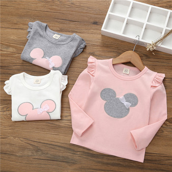 2020 Autumn Girls T-shirt Spring Baby Kid Cartoon Bow-knot Lace Shirt Children's Pink White Cotton Long Sleeve Clothes for Girls