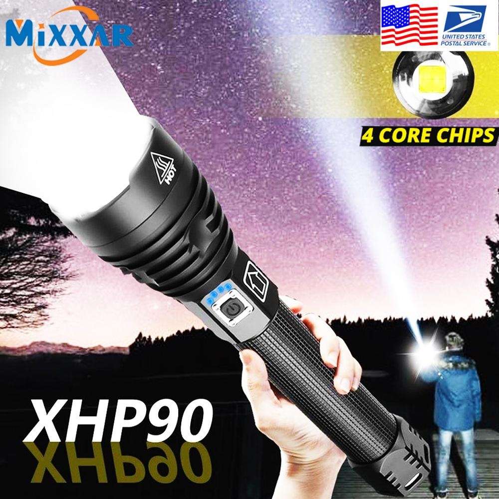 EZK20 Dropshipping XHP90 LED Flashlight Rechargeable Power Indicator Portable Waterproof 18650 26650 Zoomable Torch|LED Flashlights|   - AliExpress