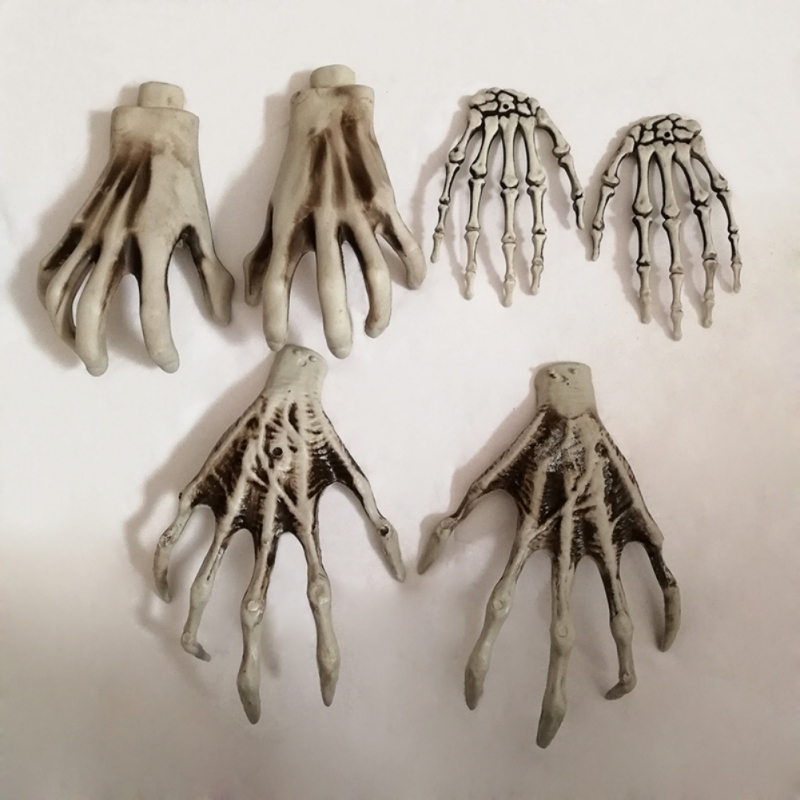 1Pair Halloween Haunted House Skull Skeleton Human Hand Bone Party Scary Props
