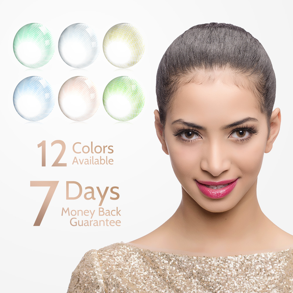 2pcs/pair Hidrocor Eye Color Lens Myopia Power Prescription Colored Contact Lenses Yearly Natural Looking Eye Makeup Colored Con