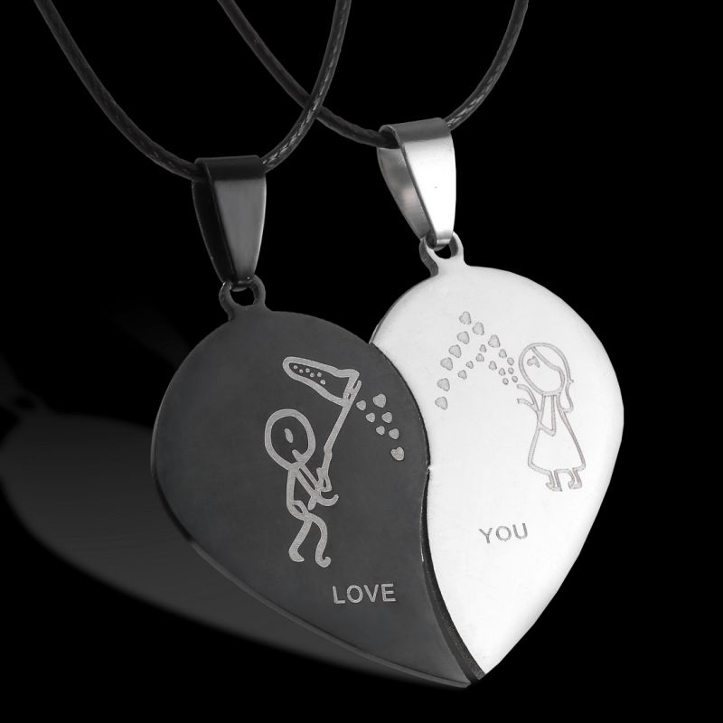 Парные ювелирные изделия, ожерелья в форме разбитого сердца, черное ожерелье из нержавеющей стали, выгравированные Подвески Love You, ожерелье ... - 3