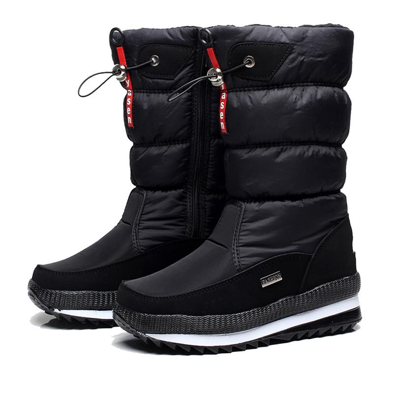 Женские зимние ботинки; зимние ботинки на платформе; водонепроницаемые Нескользящие ботинки с толстым плюшем; модная женская зимняя обувь; теплые меховые ботинки; botas mujer - Цвет: Черный