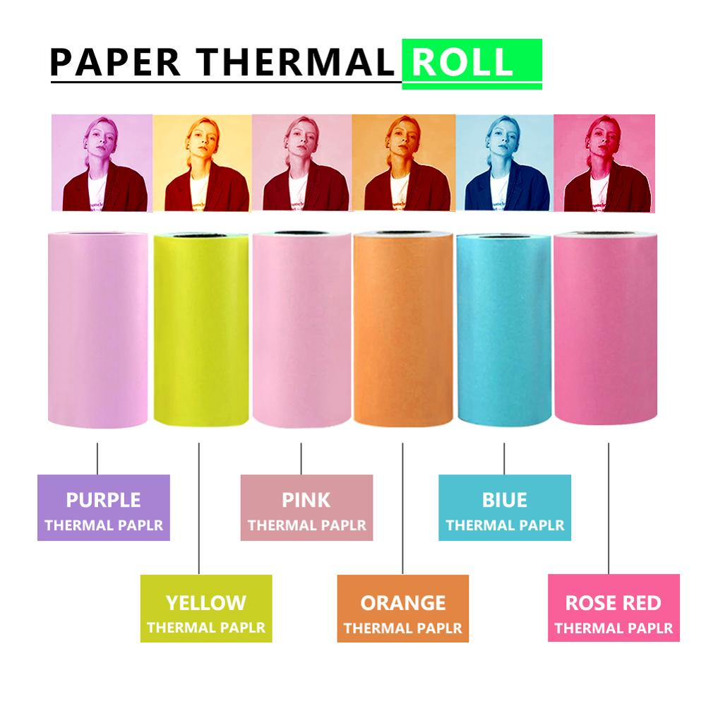 Thermal Paper Roll Self-adhesive 57x30mm For Mobile Mini BT Printer Peripage Printer Photo POS Receipt Label Colorful