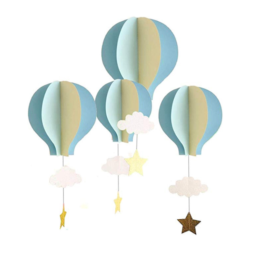 4pcs 3D Paper Pendant Hot Air Balloons Clouds Stars Hanging Ornaments For Home Decor