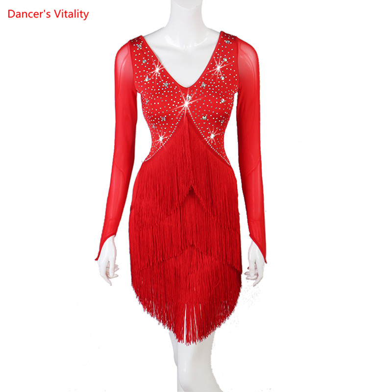 Women Latin Dance Dress Customize Size Rhinestone Long Sleeves Red Tassel Stage Play Performance Professional Salsa Suit