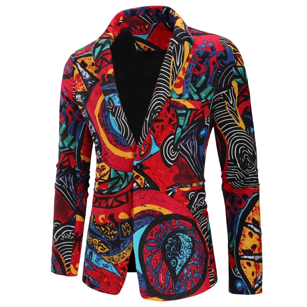 Brand Blazer Men Fashion Print Slim Fit Men Blazer Homme Long Sleeve One Button Business Suit Jacket Plus Size Men's Clothing