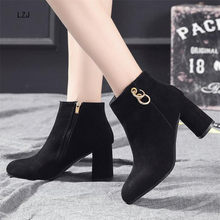 LZJ 2020 Women Shoes Fashion High Heel Ankle Boots Female Flock Mid Heels Casual Botas Mujer Booties Feminina Plus Size 34-43(China)