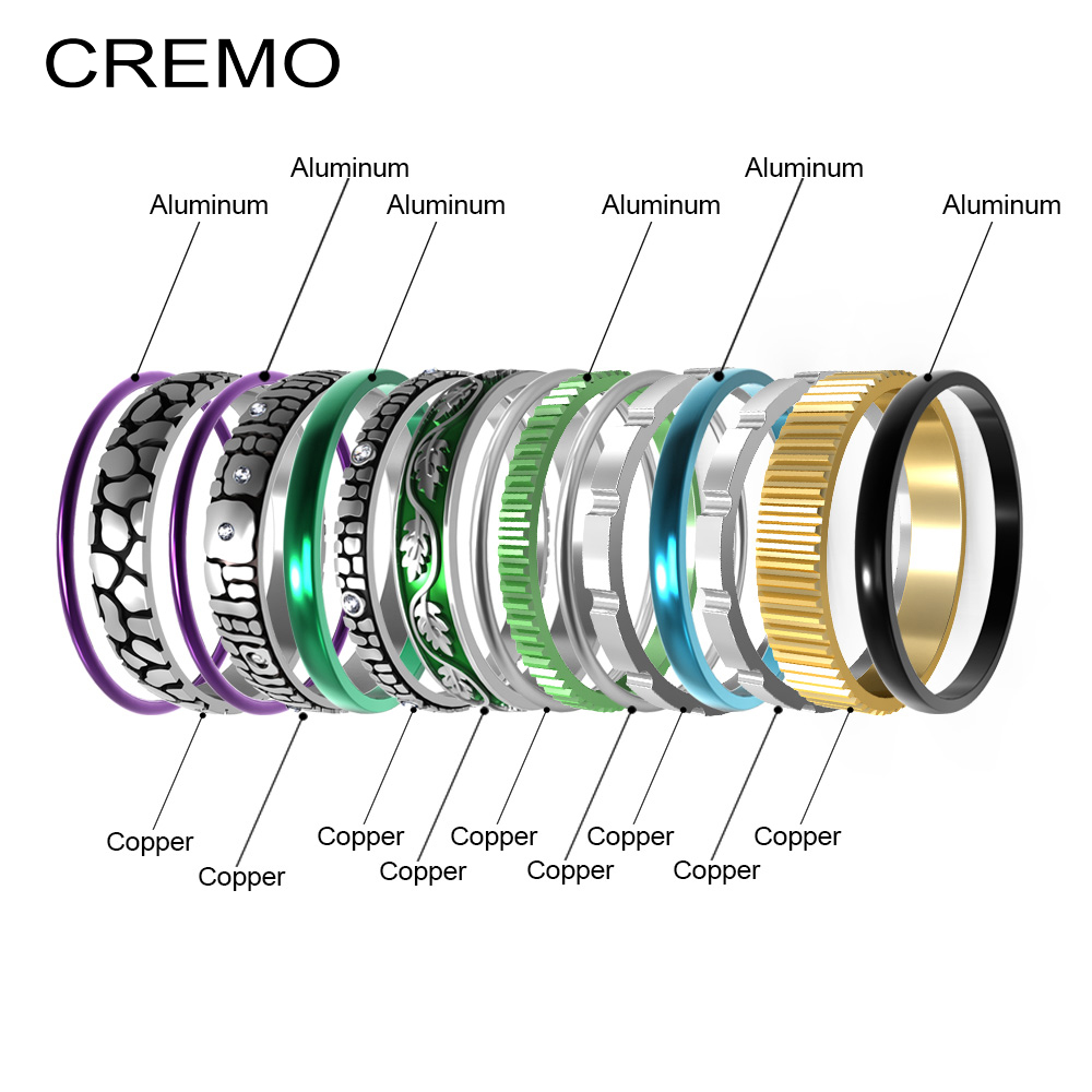Cremo Titanium Rings Set Women Stackable Interchangeable Wedding  Band Arctic Symphony Meditation Base Ring Anillos MujerRings   -