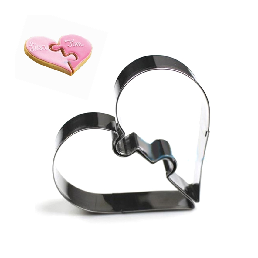 2 Hearts Cookie Tools Cutter Mould Biscuit Press Icing Set Stamp Mold Stainless Steel Cake Mold Kitchen Dining Bar Alibaba China