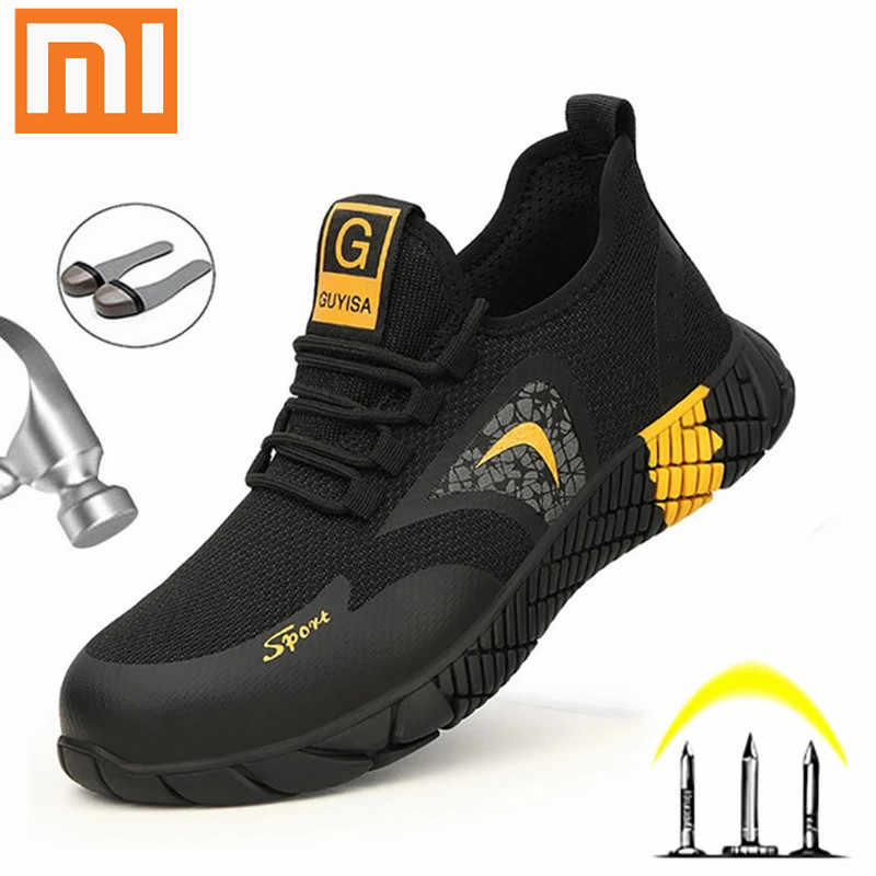 Mens Work Boots Safety Shoes Steel Toe Cap Lightweight Breathable Hike Sneakers