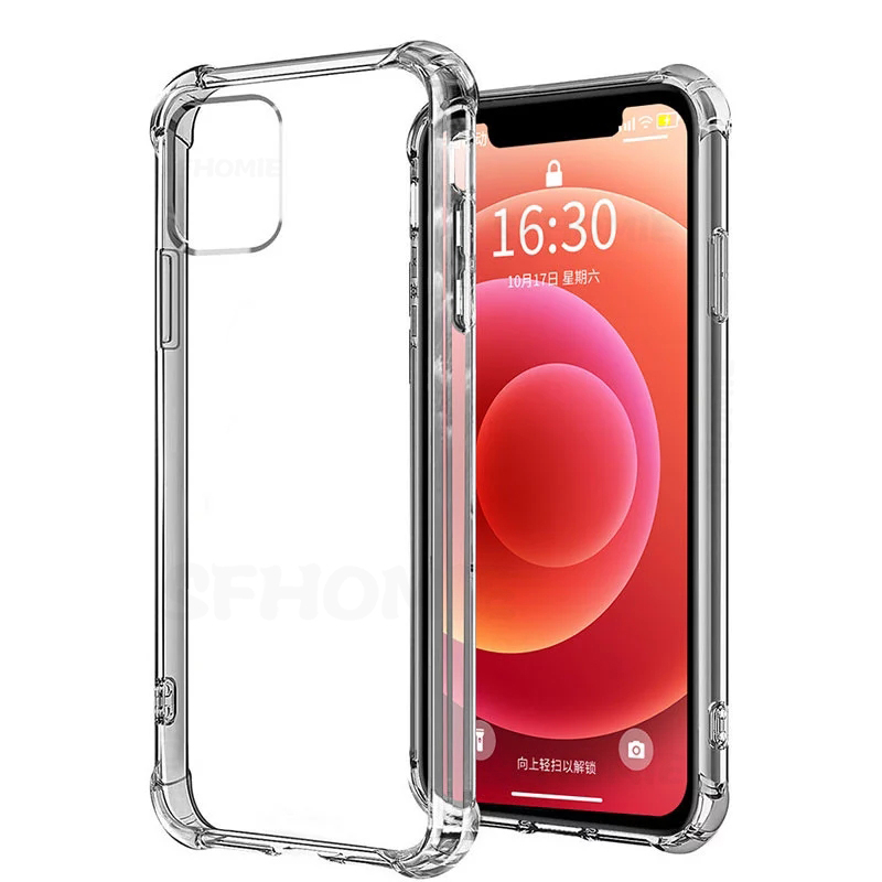 Luxury Transparent Shockproof Silicone Case For iPhone 11 X Xr Xs Max Case 12 11 Pro Max 8 7 6 Plus SE Case Silicone Back Cover