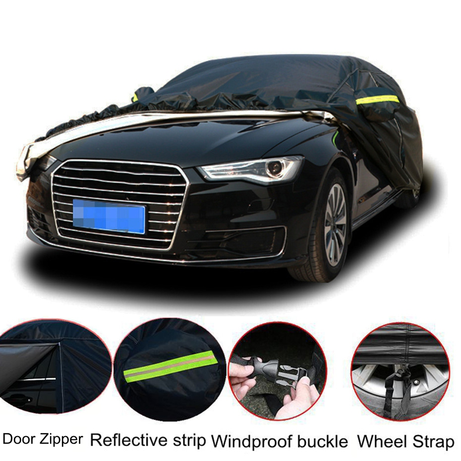 Universal Black Full Car Covers Indoor Outdoor Auot Cover Sun UV Snow Dust Resistant Protection Cover For Sedan SUV 7Sizes