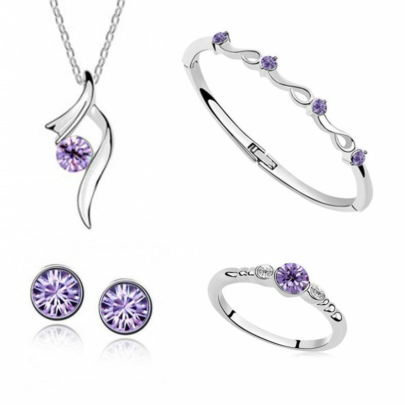 Exquisite Jewelry Set 925 Sterling Silver For Women's Wedding Explosion Purple Crystal Necklace Bracelet Ring Earrings Set Yw003