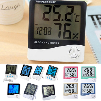 1pc LCD Elektronische Digital Thermometer Hygrometer Outdoor Indoor C/F Thermometer Hygrometer Wecker-1-2 image