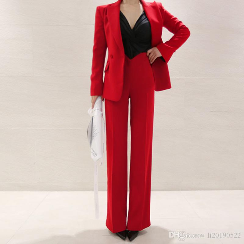 Business Uniform Women Pant Suits 2 Piece Set red slim Blazer Jacket Office lady business office work suit
