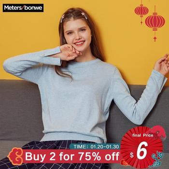 Metersbonwe 2019 Baumwolle Gestrickte Pullover Frauen Pullover Oansatz Herbst Winter Grund Frauen Pullover Koreanischen Stil Slim Fit