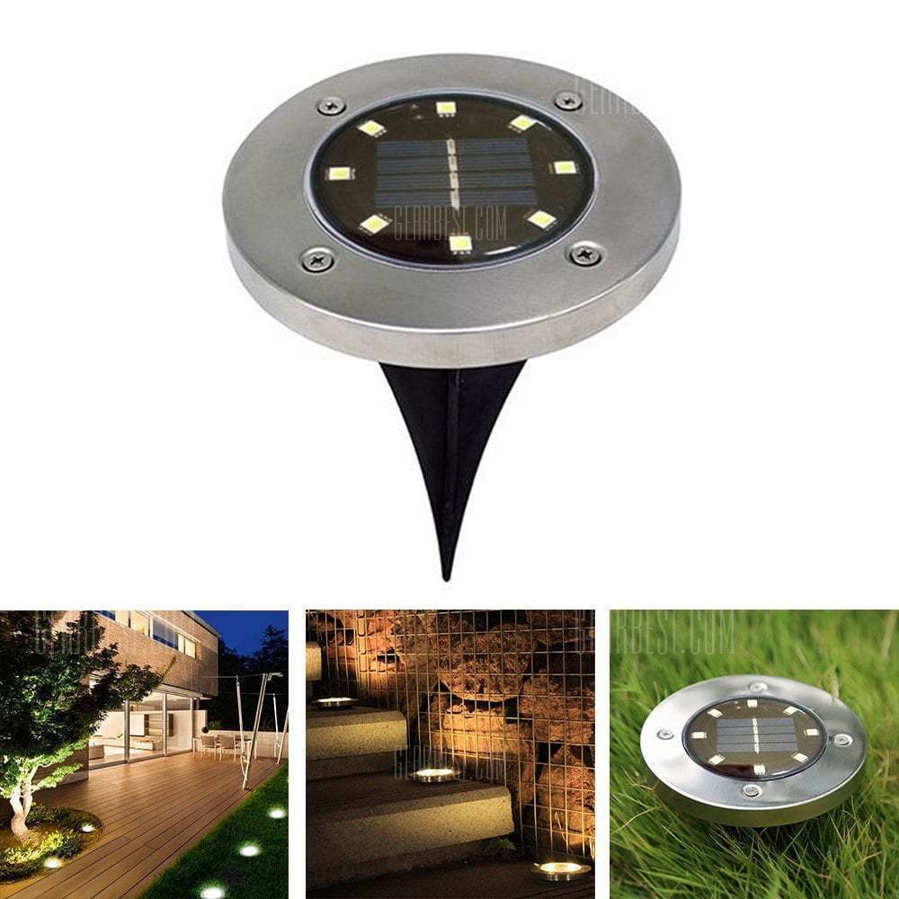 1PC 12-LED Solar Power Buried Light Under Ground Lamp Outdoor Path Way Garden Decking Warm White Light Lawn Lamp