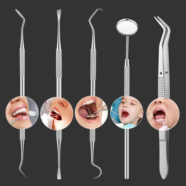 5/6pcs Tooth Cleaning Stainless Steel Tool Set Kit Dentist Scraper Pick Tool Calculus Plaque Flos Remover|Teeth Whitening|   -
