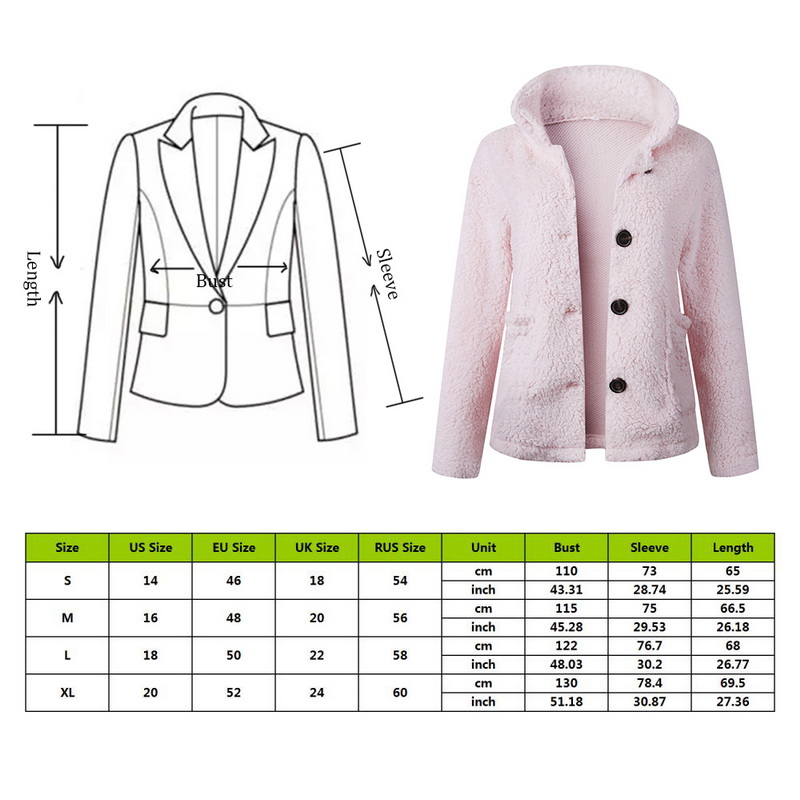 HEFLASHOR Women's Plush coat autumn winter Women Button Jacket Casual Warm turndown collar fur Outwear Mid-Length Woolen jackets 2