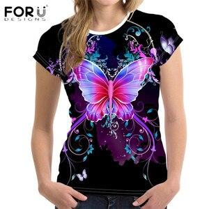 FORUDESIGNS/Новое поступление, летняя женская футболка с бабочкой и цветочным принтом, короткий топ с o-образным вырезом