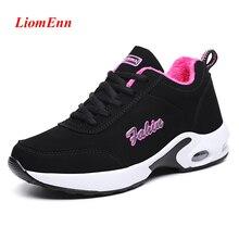 Chunky Platform Sneakers Women Basket Casual-Shoes Comfort Black Woman Sport Plush Fur