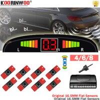 Koorinwoo-Sensores de aparcamiento para coches, Radar de protección de seguridad para vehículos, luces Led planas delanteras y traseras, 4/6/8