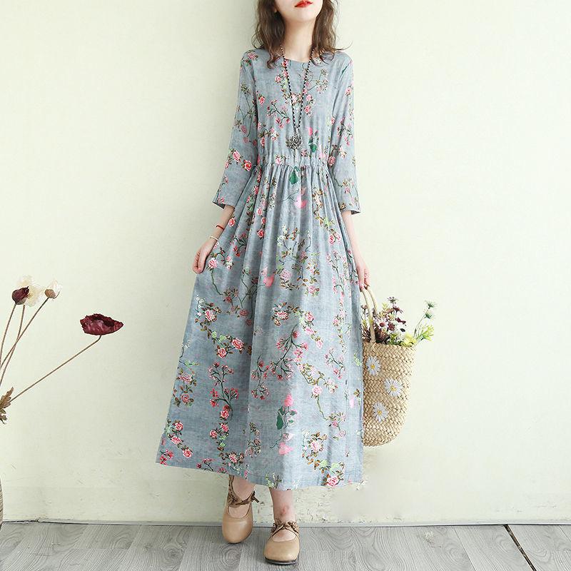 Women Cotton Linen Casual Dress New Arrival 2021 Summer Vintage Style Floral Print Ladies Elegant A-line Long Dresses T001 8