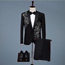 New Arrival Men Fashionable Embroidery Black Ribbon Floral Pattern 2 Sets Stage Singer Suits Wedding Groom Jacket Pants 2pcs