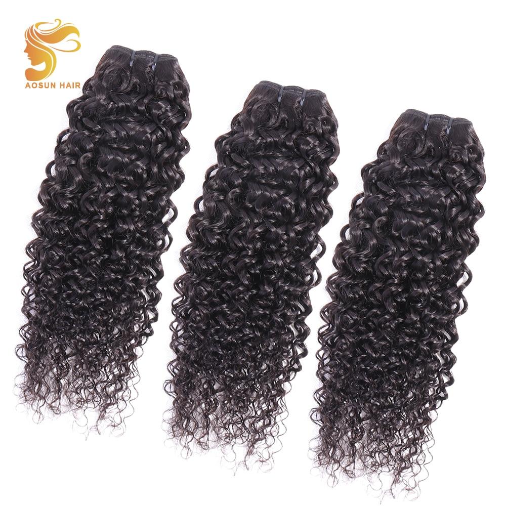 AOSUN HAIR Peruvian Hair Weave Bundles Italian Curly Natural Color 100% Human weaving 3 Piece 10-26inch Remy Extension