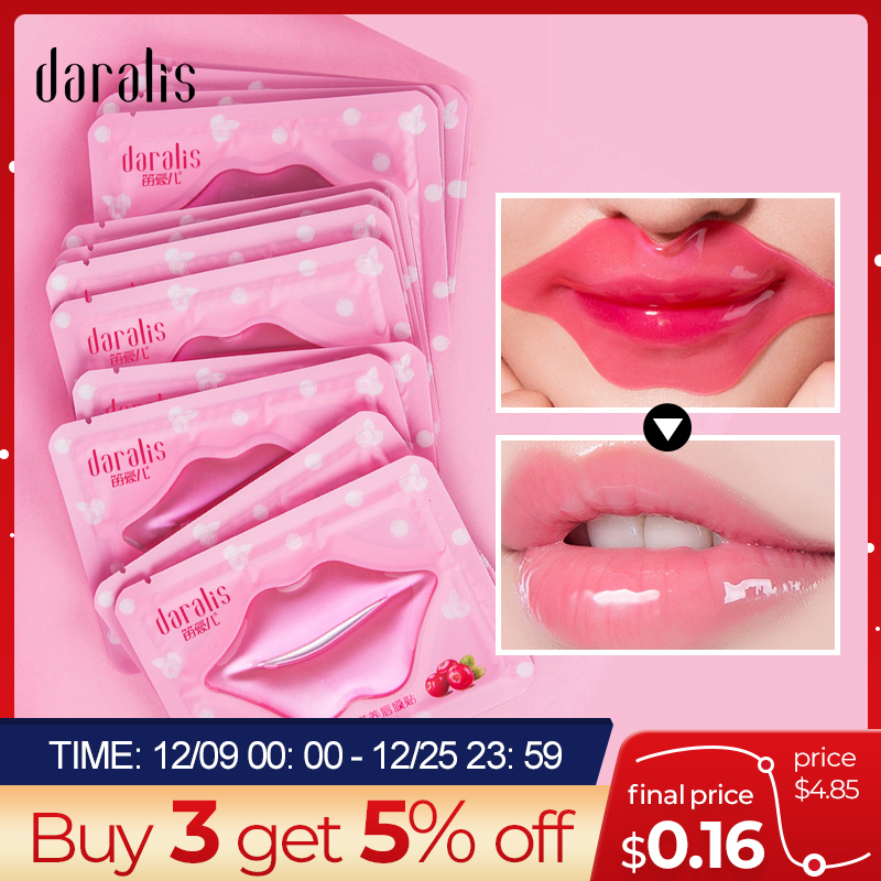 Daralis 10pcs Cranberry Moisturizing Lip Mask Lip Film Patches Gel Exfoliating Lips Care Pump Collagen Pads Anti-Wrinkle Patches