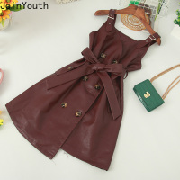 JoinYouth Vintage Solid Lace Up Bow Sexy Dress 2019 Autumn V Neck PU Fashin Mini Dresses A line High Waist Women Vestidos J062