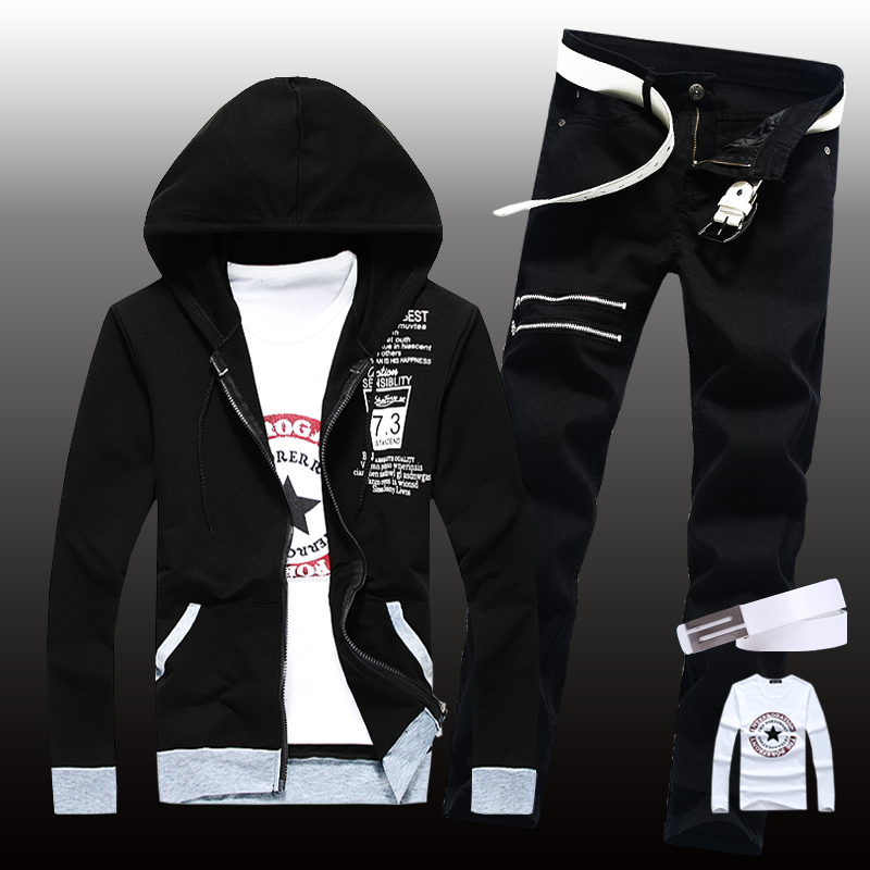 Thin Mens Casual Set Jacket Pants 2pcs Hooded Coats Long Sleeve Long Trousers Letters Printed Boys Sweat Suit Set A3