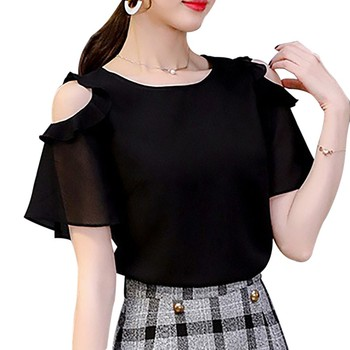 Women Solid Color Ruffles Blouses Short Sleeve Cold Shoulder Chiffon Blouse Summer Office Lady Tops lace panel flowy cold shoulder blouse