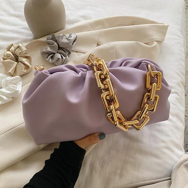 Pleated Tote Bag With Gold Chain 2